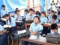 Students studying  at temporary classes.